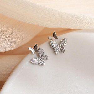*925 Sterling Silver Diamond Butterfly Earrings D